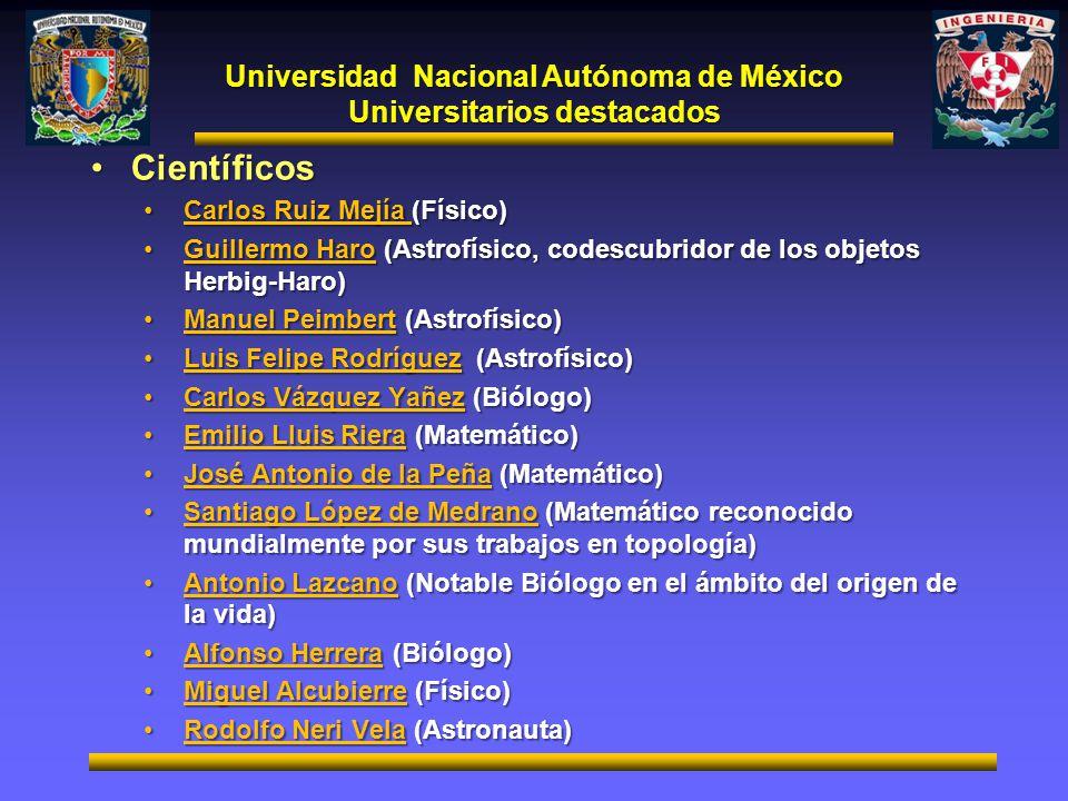 Universidad Nacional Autónoma de México Universitarios destacados CientíficosCientíficos Carlos Ruiz Mejía (Físico)Carlos Ruiz Mejía (Físico) Guillerm