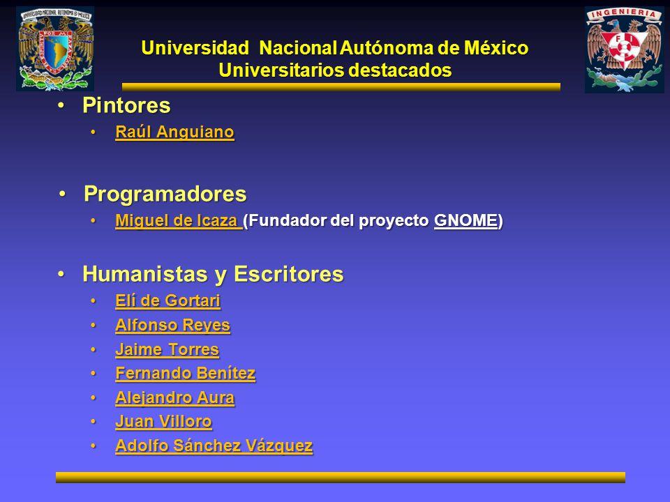 Universidad Nacional Autónoma de México Universitarios destacados PintoresPintores Raúl AnguianoRaúl Anguiano ProgramadoresProgramadores Miguel de Ica