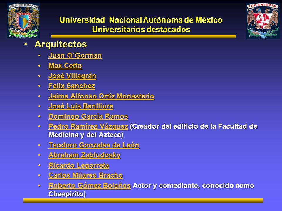 Universidad Nacional Autónoma de México Universitarios destacados ArquitectosArquitectos Juan O´GormanJuan O´Gorman Max CettoMax Cetto José VillagránJ