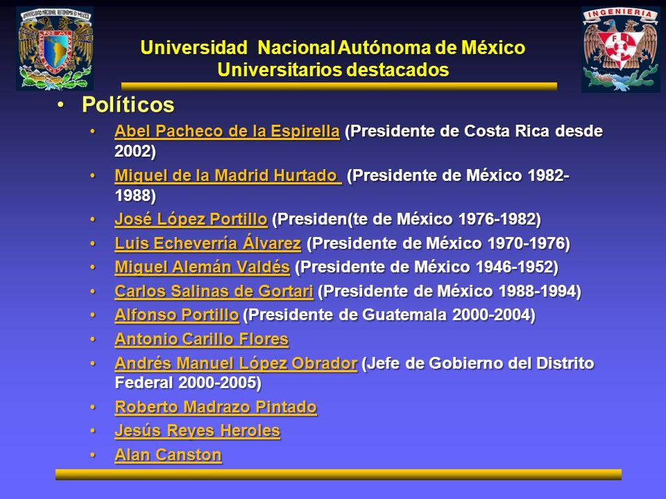 Universidad Nacional Autónoma de México Universitarios destacados PolíticosPolíticos Abel Pacheco de la Espirella (Presidente de Costa Rica desde 2002