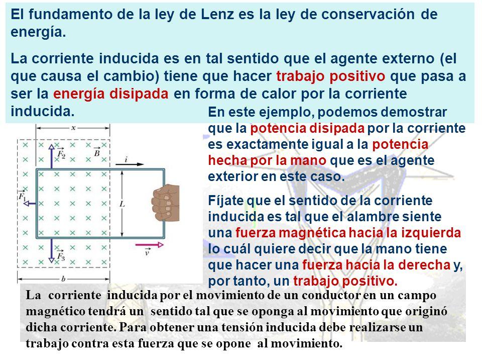 El fundamento de la ley de Lenz es la ley de conservación de energía. La corriente inducida es en tal sentido que el agente externo (el que causa el c