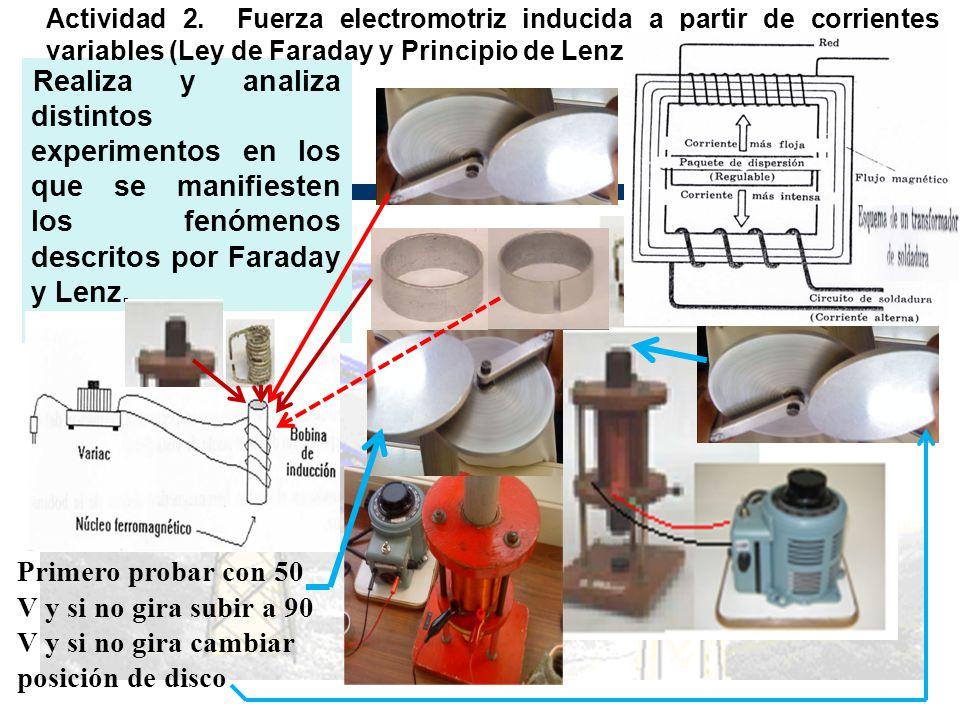 Realiza y analiza distintos experimentos en los que se manifiesten los fenómenos descritos por Faraday y Lenz. Actividad 2. Fuerza electromotriz induc