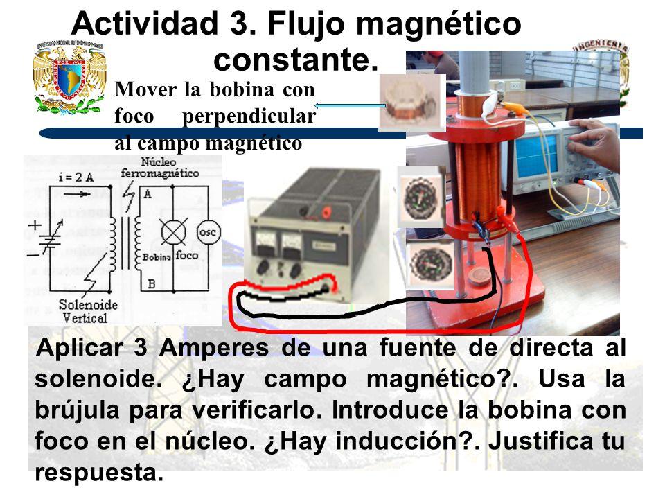 Actividad 3. Flujo magnético constante. Aplicar 3 Amperes de una fuente de directa al solenoide. ¿Hay campo magnético?. Usa la brújula para verificarl