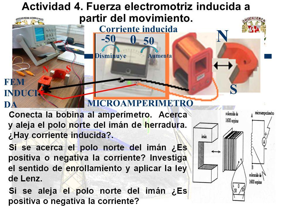 Actividad 4. Fuerza electromotriz inducida a partir del movimiento. Conecta la bobina al amperímetro. Acerca y aleja el polo norte del imán de herradu