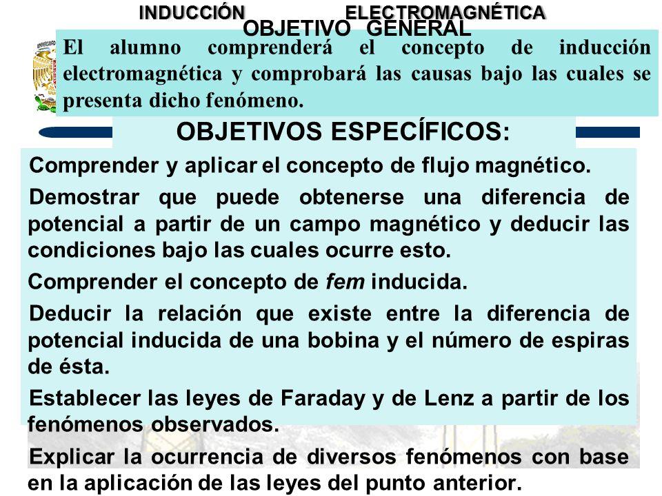 OBJETIVOS ESPECÍFICOS: Comprender y aplicar el concepto de flujo magnético. Demostrar que puede obtenerse una diferencia de potencial a partir de un c