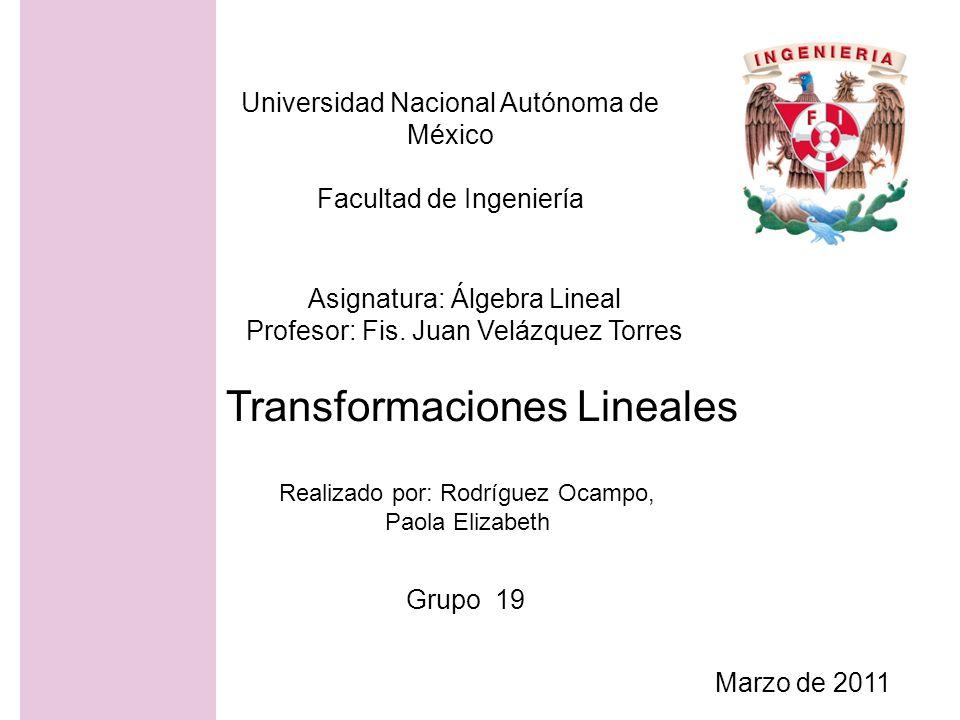 Universidad Nacional Autónoma de México Facultad de Ingeniería Realizado por: Rodríguez Ocampo, Paola Elizabeth Asignatura: Álgebra Lineal Profesor: F