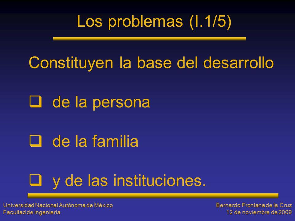 Los problemas (I.1/5) Constituyen la base del desarrollo de la persona de la familia y de las instituciones. Universidad Nacional Autónoma de México F