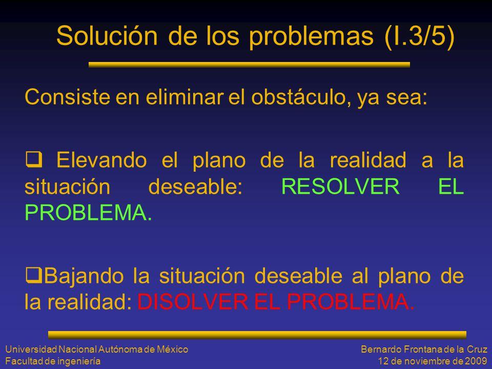 Solución de los problemas (I.3/5) Consiste en eliminar el obstáculo, ya sea: Elevando el plano de la realidad a la situación deseable: RESOLVER EL PRO