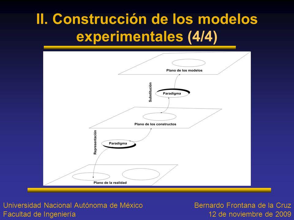 II. Construcción de los modelos experimentales (4/4) Universidad Nacional Autónoma de México Facultad de Ingeniería Bernardo Frontana de la Cruz 12 de
