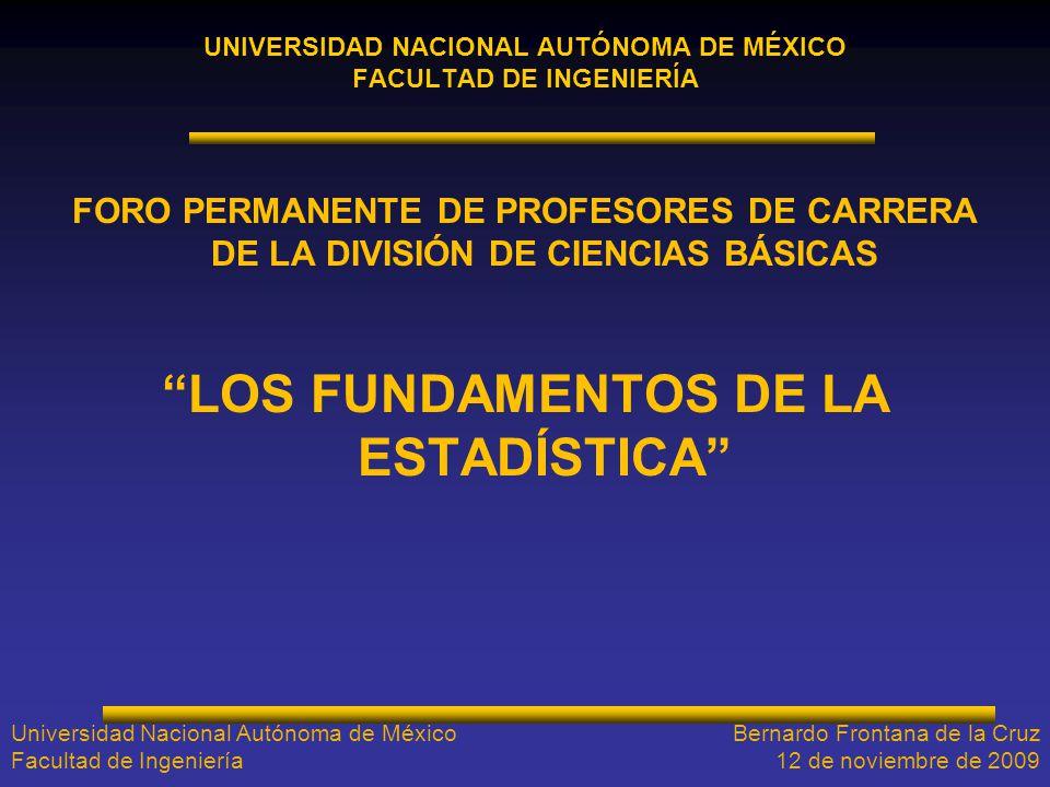UNIVERSIDAD NACIONAL AUTÓNOMA DE MÉXICO FACULTAD DE INGENIERÍA FORO PERMANENTE DE PROFESORES DE CARRERA DE LA DIVISIÓN DE CIENCIAS BÁSICAS LOS FUNDAME