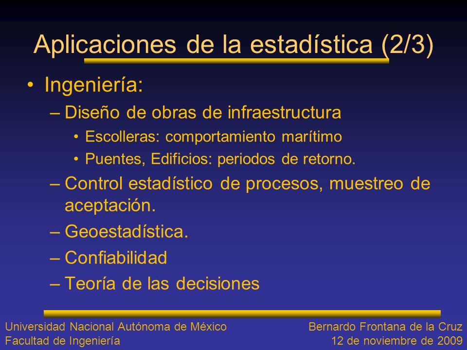 Aplicaciones de la estadística (2/3) Ingeniería: –Diseño de obras de infraestructura Escolleras: comportamiento marítimo Puentes, Edificios: periodos