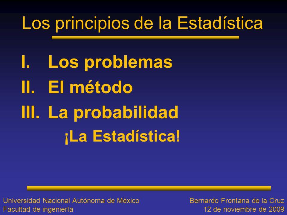 Los principios de la Estadística I.Los problemas II.El método III.La probabilidad ¡La Estadística! Universidad Nacional Autónoma de México Facultad de