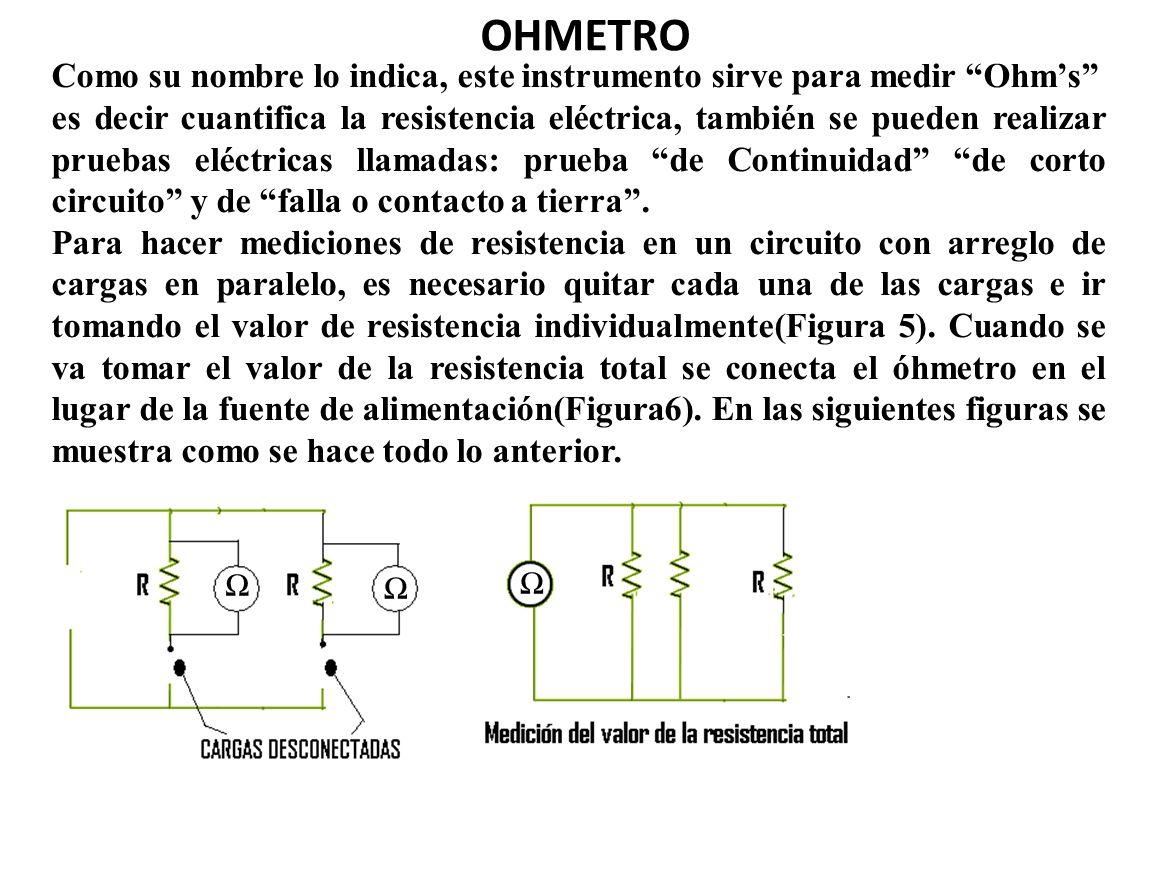 OHMETRO Como su nombre lo indica, este instrumento sirve para medir Ohms es decir cuantifica la resistencia eléctrica, también se pueden realizar prue
