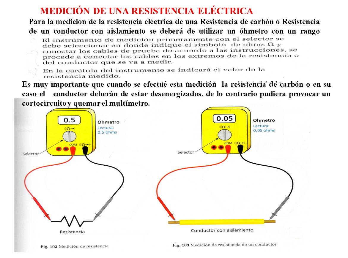 Para la medición de la resistencia eléctrica de una Resistencia de carbón o Resistencia de un conductor con aislamiento se deberá de utilizar un óhmet