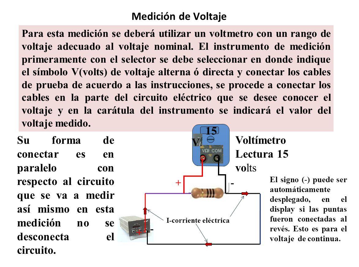 Medición de Voltaje Para esta medición se deberá utilizar un voltmetro con un rango de voltaje adecuado al voltaje nominal. El instrumento de medición