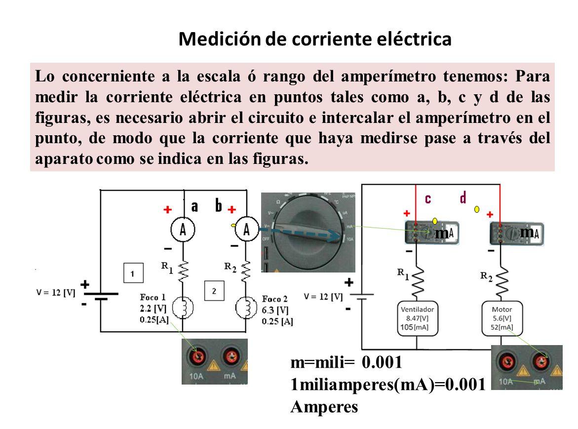 Medición de corriente eléctrica Lo concerniente a la escala ó rango del amperímetro tenemos: Para medir la corriente eléctrica en puntos tales como a,