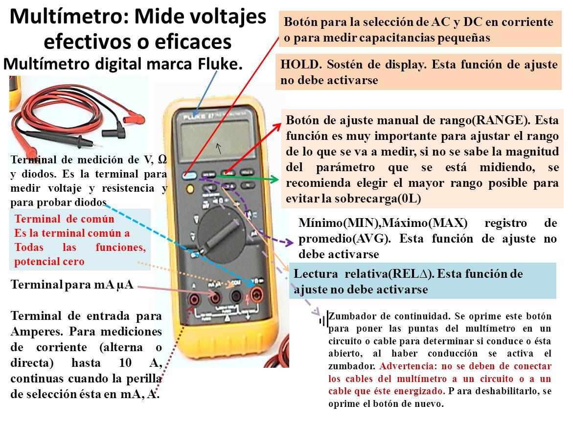 Multímetro: Mide voltajes efectivos o eficaces Multímetro digital marca Fluke. Botón para la selección de AC y DC en corriente o para medir capacitanc