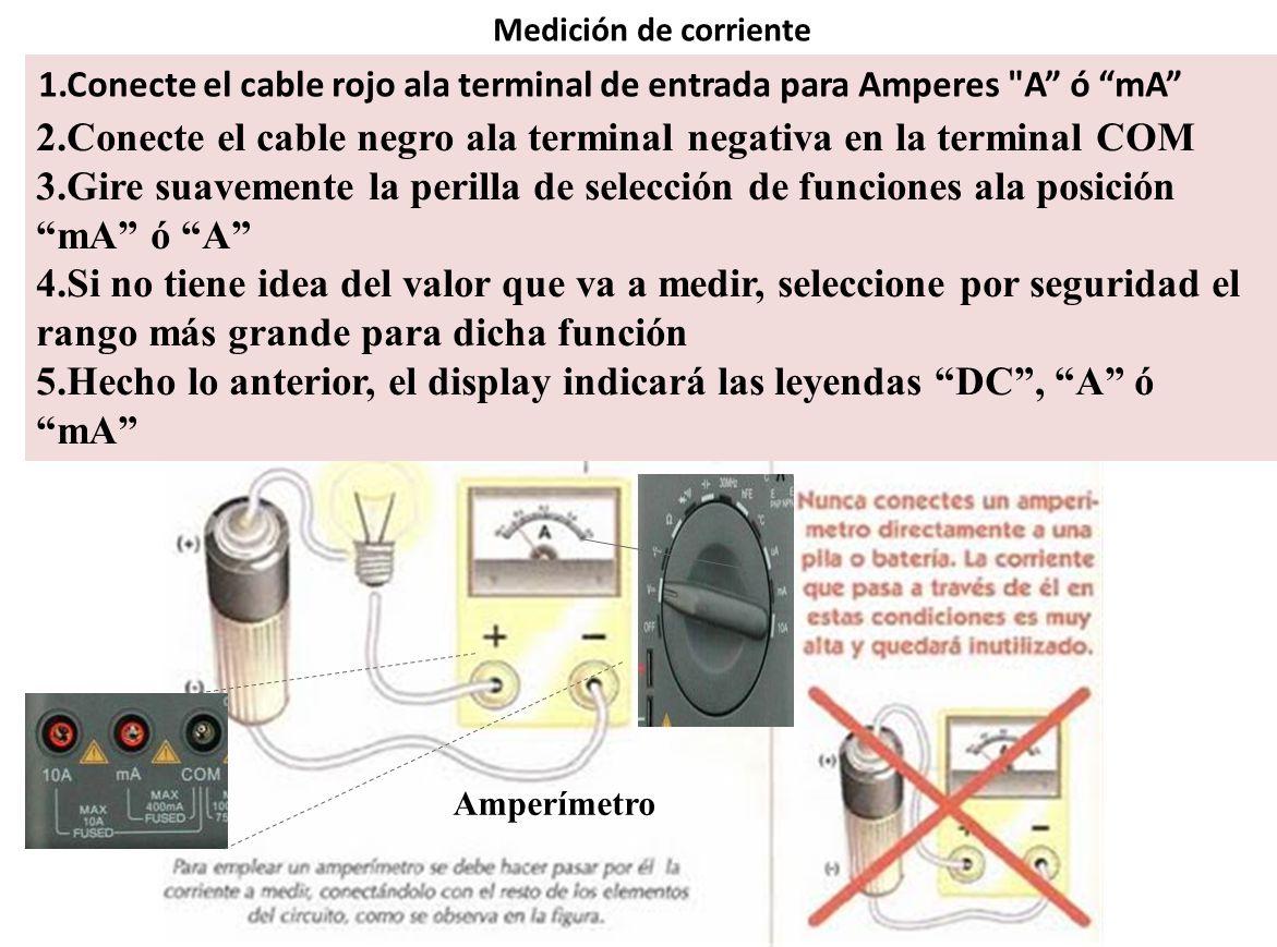 Medición de corriente 1.Conecte el cable rojo ala terminal de entrada para Amperes