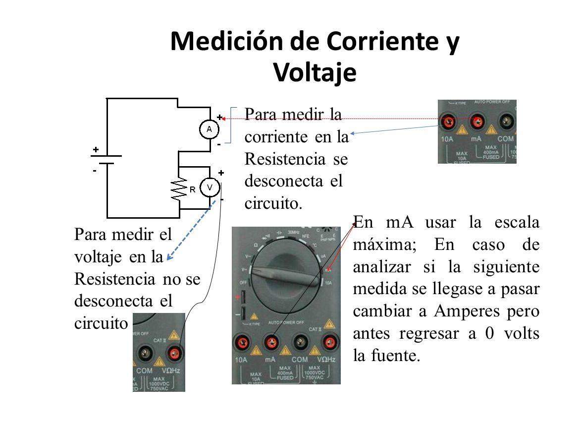 Medición de Corriente y Voltaje Para medir la corriente en la Resistencia se desconecta el circuito. Para medir el voltaje en la Resistencia no se des