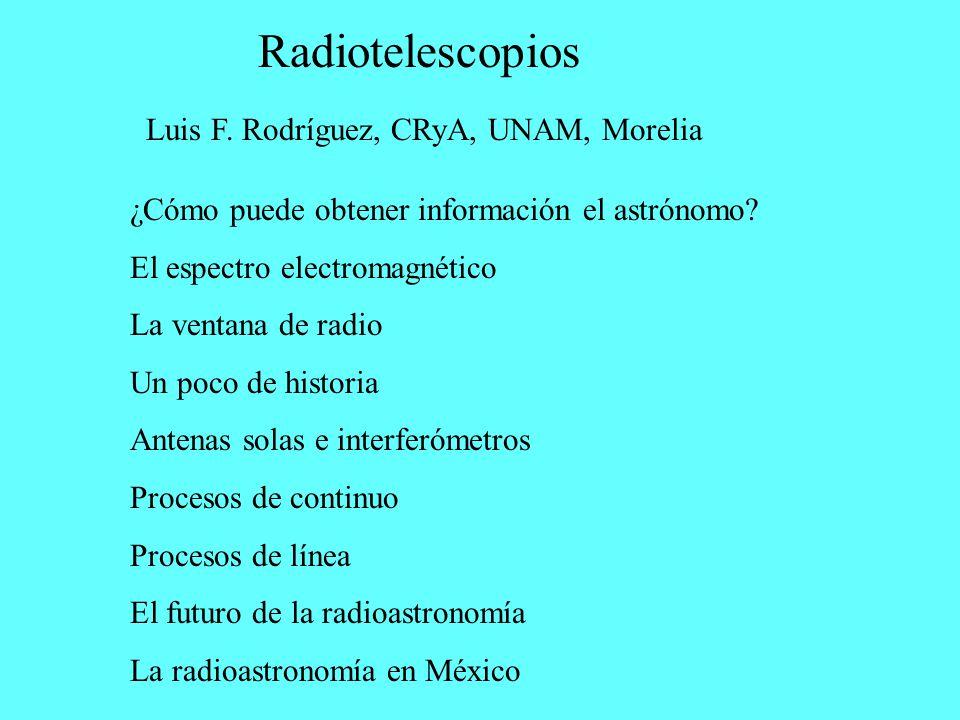 Radiotelescopios Luis F. Rodríguez, CRyA, UNAM, Morelia ¿Cómo puede obtener información el astrónomo? El espectro electromagnético La ventana de radio