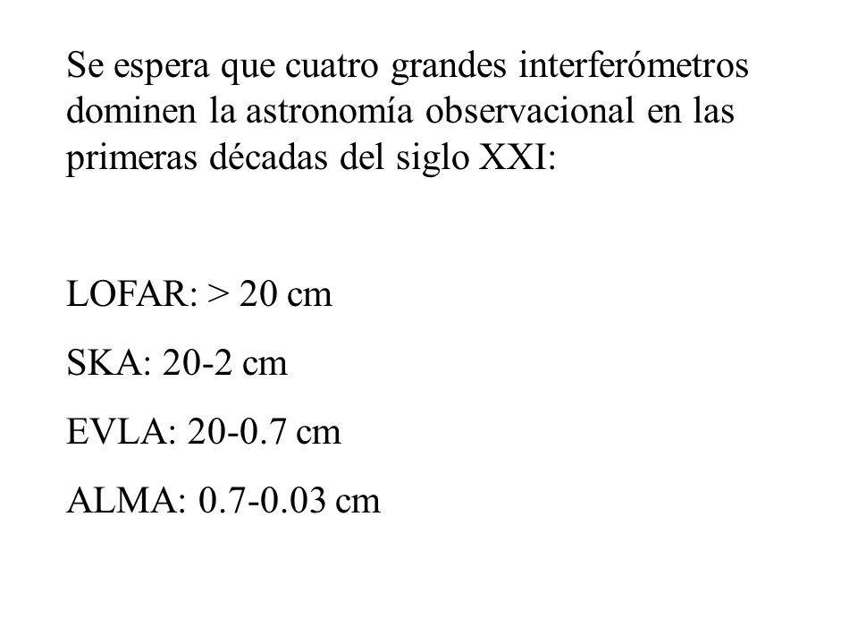 Se espera que cuatro grandes interferómetros dominen la astronomía observacional en las primeras décadas del siglo XXI: LOFAR: > 20 cm SKA: 20-2 cm EV