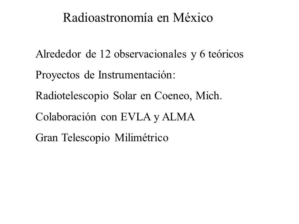 Radioastronomía en México Alrededor de 12 observacionales y 6 teóricos Proyectos de Instrumentación: Radiotelescopio Solar en Coeneo, Mich. Colaboraci