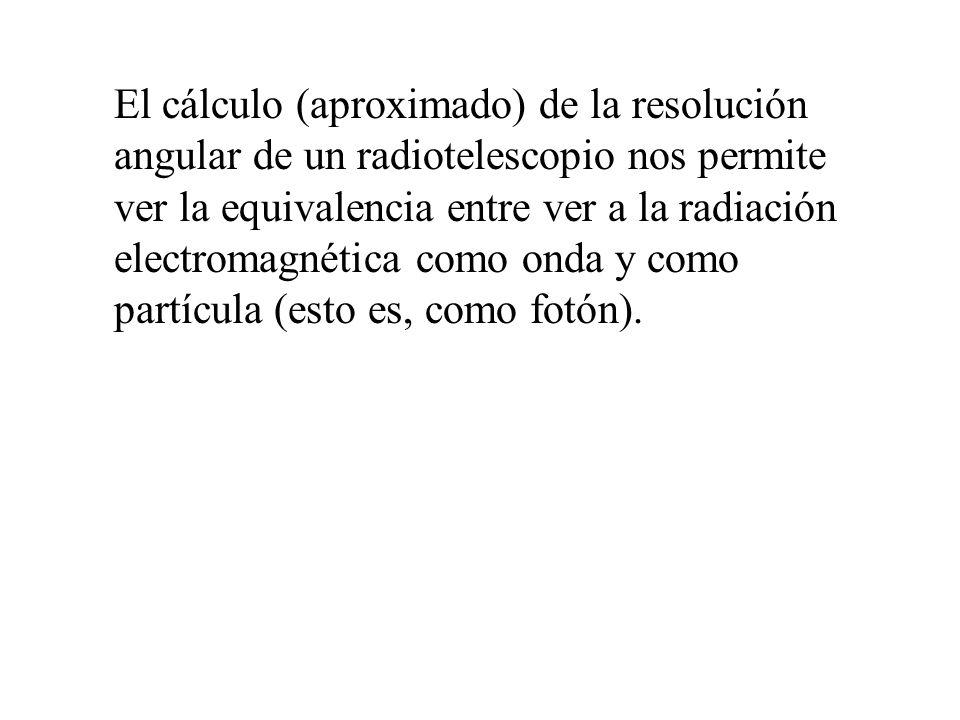 El cálculo (aproximado) de la resolución angular de un radiotelescopio nos permite ver la equivalencia entre ver a la radiación electromagnética como