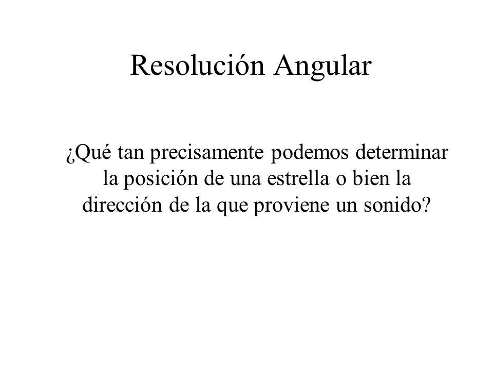 Resolución Angular ¿Qué tan precisamente podemos determinar la posición de una estrella o bien la dirección de la que proviene un sonido?