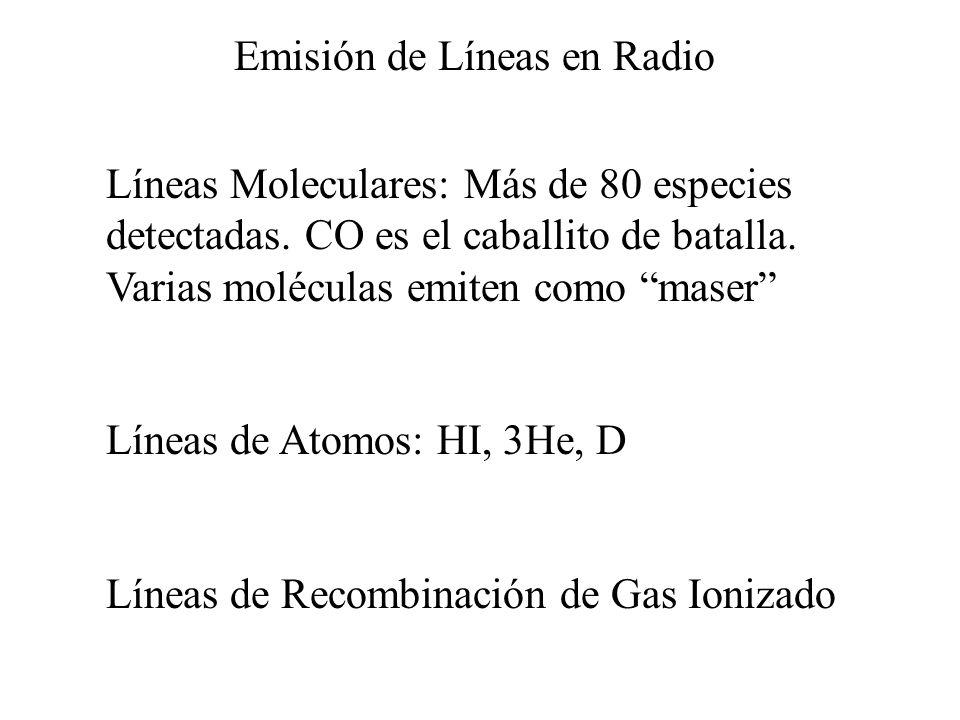 Emisión de Líneas en Radio Líneas Moleculares: Más de 80 especies detectadas. CO es el caballito de batalla. Varias moléculas emiten como maser Líneas
