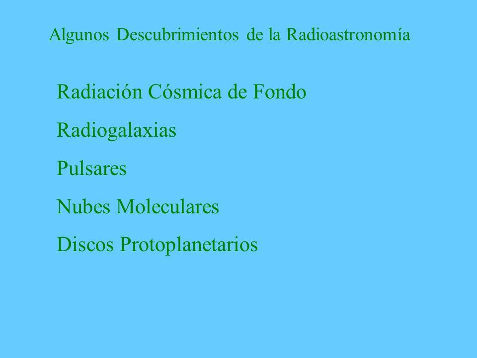 Algunos Descubrimientos de la Radioastronomía Radiación Cósmica de Fondo Radiogalaxias Pulsares Nubes Moleculares Discos Protoplanetarios