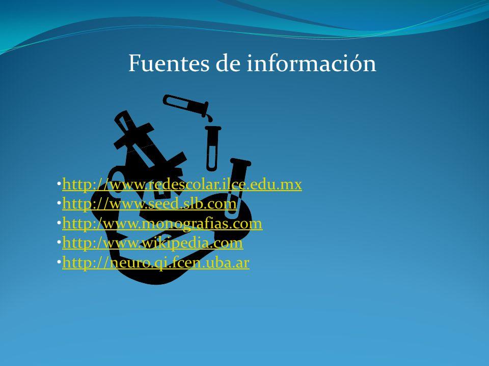 Fuentes de información http://www.redescolar.ilce.edu.mx http://www.seed.slb.com http:/www.monografias.com http:/www.wikipedia.com http://neuro.qi.fce