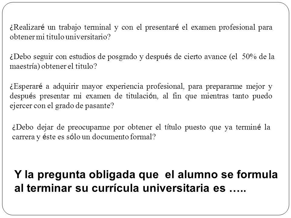 ¿ Realizar é un trabajo terminal y con el presentar é el examen profesional para obtener mi titulo universitario? ¿ Debo seguir con estudios de posgra