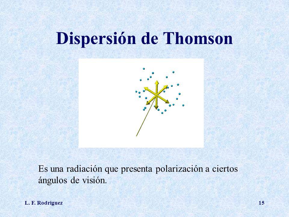L. F. Rodriguez15 Dispersión de Thomson Es una radiación que presenta polarización a ciertos ángulos de visión.