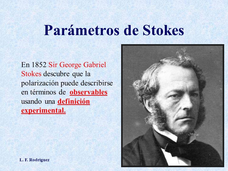 L. F. Rodriguez16 Parámetros de Stokes En 1852 Sir George Gabriel Stokes descubre que la polarización puede describirse en términos de observables usa