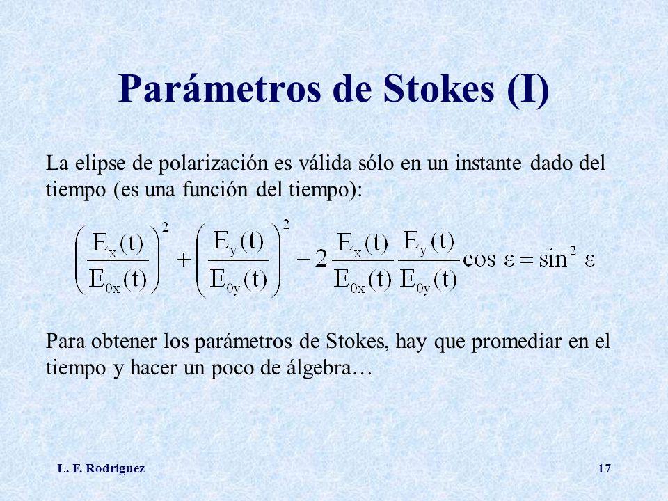 L. F. Rodriguez17 Parámetros de Stokes (I) La elipse de polarización es válida sólo en un instante dado del tiempo (es una función del tiempo): Para o