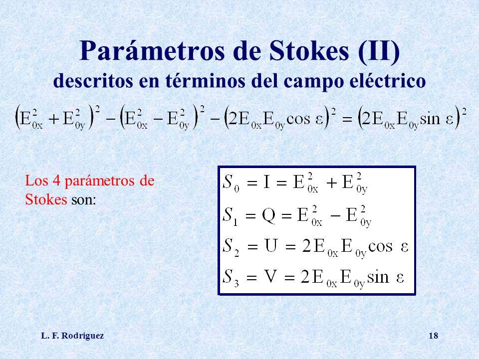 L. F. Rodriguez18 Parámetros de Stokes (II) descritos en términos del campo eléctrico Los 4 parámetros de Stokes son: