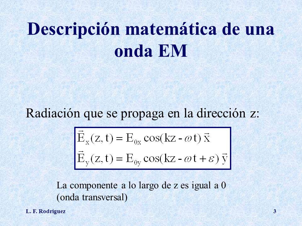 L. F. Rodriguez3 Descripción matemática de una onda EM Radiación que se propaga en la dirección z: La componente a lo largo de z es igual a 0 (onda tr