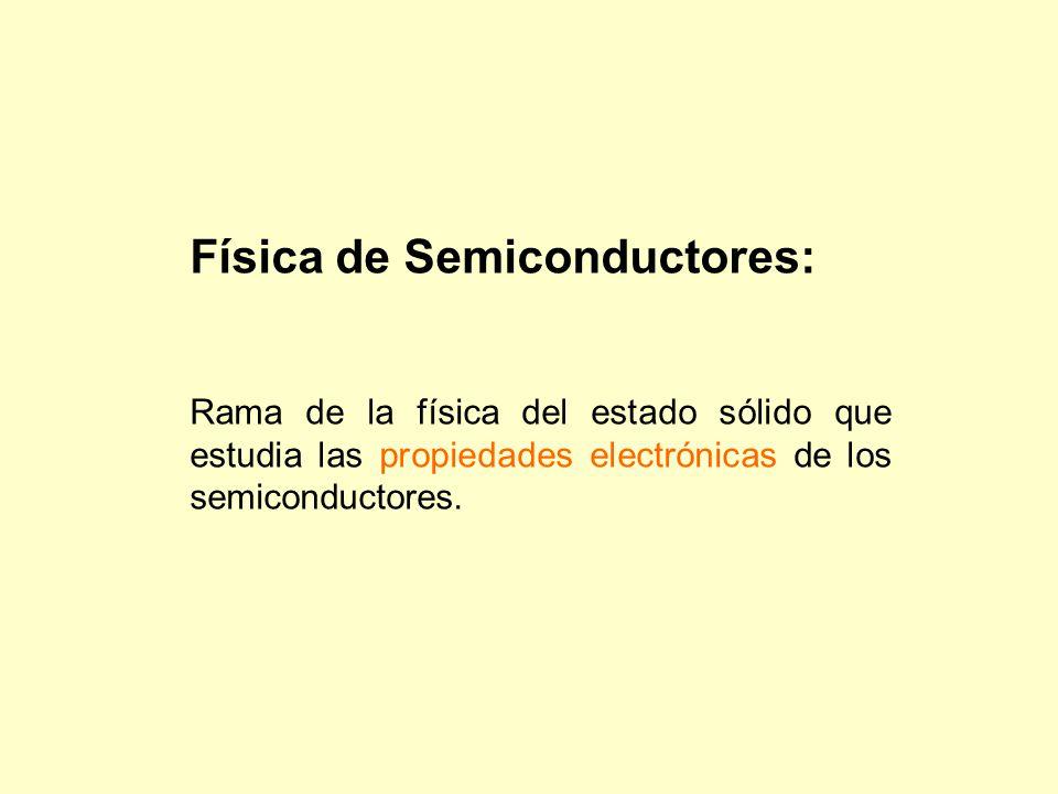 Física de Semiconductores: Rama de la física del estado sólido que estudia las propiedades electrónicas de los semiconductores.