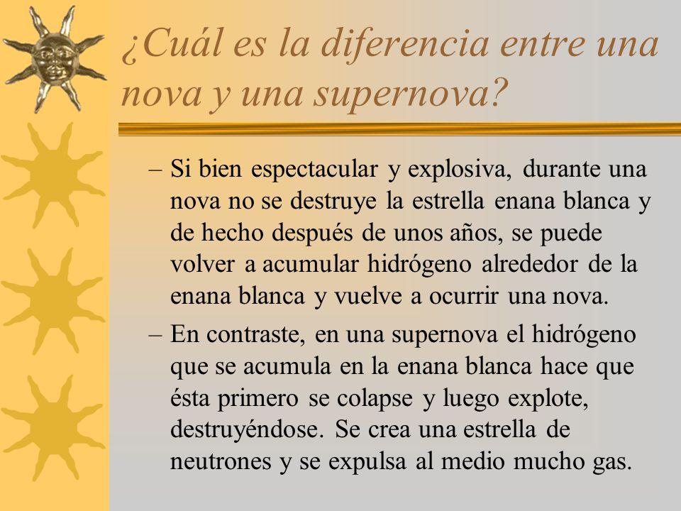 ¿Cuál es la diferencia entre una nova y una supernova? –Si bien espectacular y explosiva, durante una nova no se destruye la estrella enana blanca y d