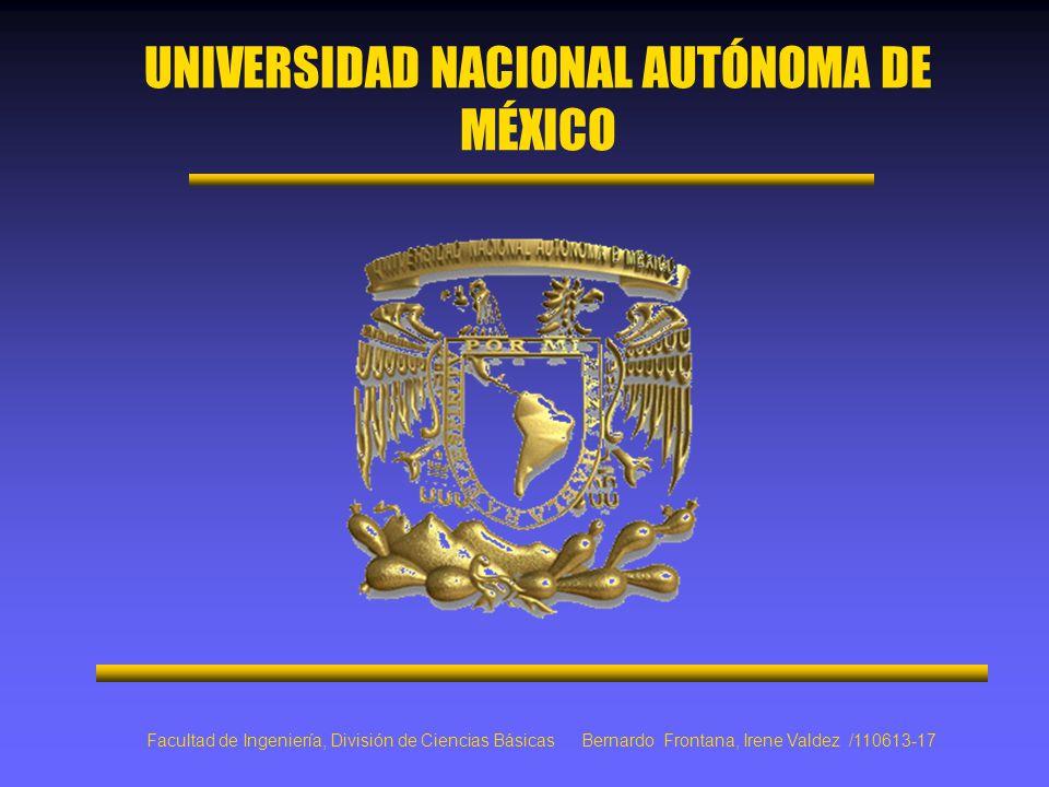 UNIVERSIDAD NACIONAL AUTÓNOMA DE MÉXICO Facultad de Ingeniería, División de Ciencias Básicas Bernardo Frontana, Irene Valdez /110613-17