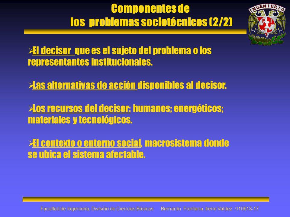 Componentes de los problemas sociotécnicos (2/2) El decisor que es el sujeto del problema o los representantes institucionales. Las alternativas de ac