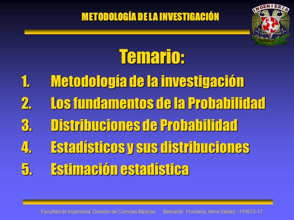 Temario: 1.Metodología de la investigación 2.Los fundamentos de la Probabilidad 3.Distribuciones de Probabilidad 4.Estadísticos y sus distribuciones 5