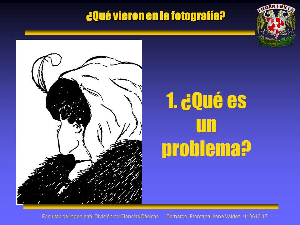 ¿Qué vieron en la fotografía? 1. ¿Qué es un problema? Facultad de Ingeniería, División de Ciencias Básicas Bernardo Frontana, Irene Valdez /110613-17