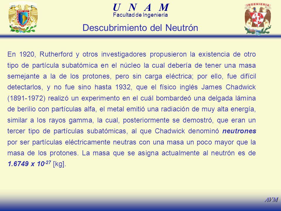 U N A M Facultad de Ingeniería AVM En 1920, Rutherford y otros investigadores propusieron la existencia de otro tipo de partícula subatómica en el núc