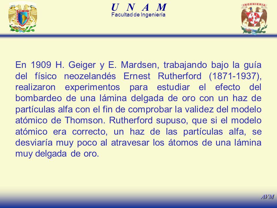 U N A M Facultad de Ingeniería AVM En 1909 H.Geiger y E.