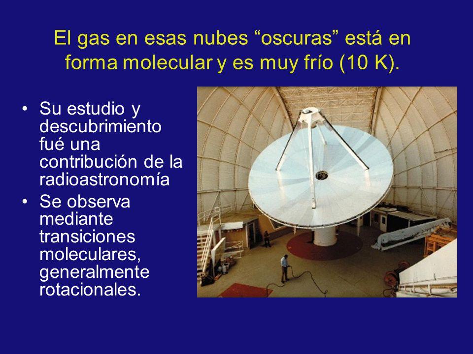 El gas en esas nubes oscuras está en forma molecular y es muy frío (10 K). Su estudio y descubrimiento fué una contribución de la radioastronomía Se o