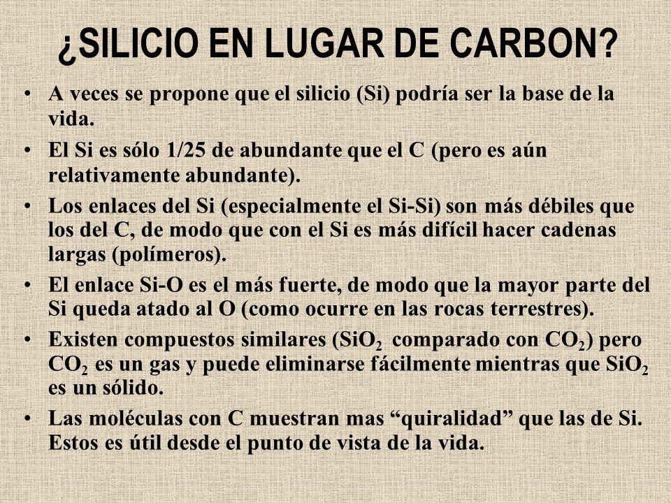 ¿SILICIO EN LUGAR DE CARBON? A veces se propone que el silicio (Si) podría ser la base de la vida. El Si es sólo 1/25 de abundante que el C (pero es a