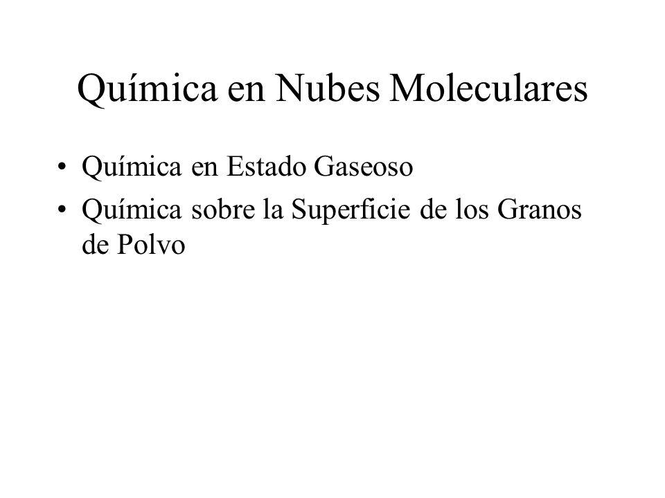 Química en Nubes Moleculares Química en Estado Gaseoso Química sobre la Superficie de los Granos de Polvo