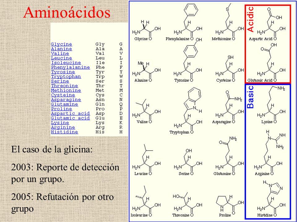 Aminoácidos El caso de la glicina: 2003: Reporte de detección por un grupo. 2005: Refutación por otro grupo