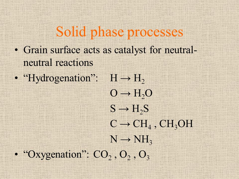 Solid phase processes Grain surface acts as catalyst for neutral- neutral reactions Hydrogenation:H H 2 O H 2 O S H 2 S C CH 4, CH 3 OH N NH 3 Oxygena